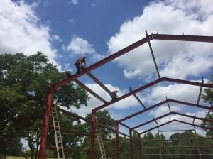 setting roof frame